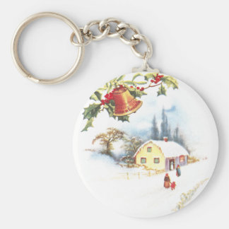 Holly, Bell and Mistletoe Vintage Christmas Key Chains