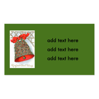 Holly Bell Red Ribbon Glad Tidings Double-Sided Standard Business Cards (Pack Of 100)