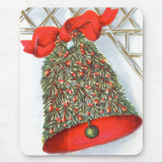 Holly Bell Red Ribbon Glad Tidings Mouse Pad