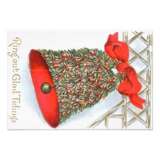 Holly Bell Red Ribbon Glad Tidings Photo Print