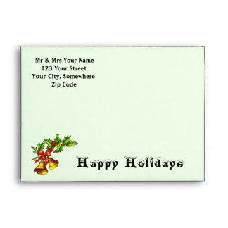 Holly & Bells ~ Happy Holidays Envelope