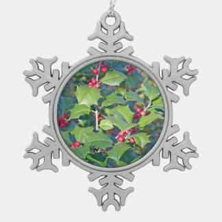 holly berrie,nature snowflake pewter christmas ornament