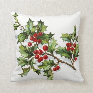 Holly Berries 002 Throw Pillow