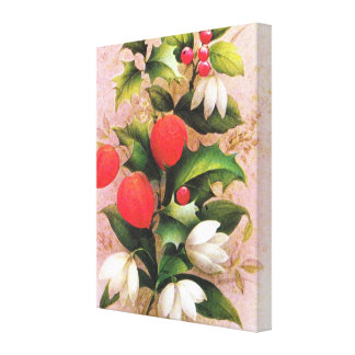 Holly, berries and Christmas flowers Canvas Print