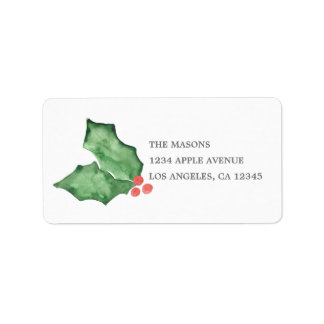 Holly Berries And Leaves Label