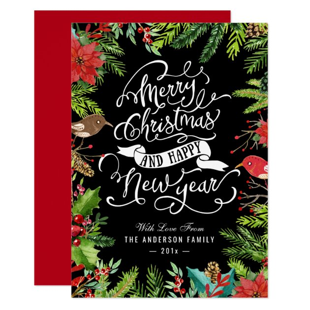Holly Berries and Pines | Merry Christmas New Year Card