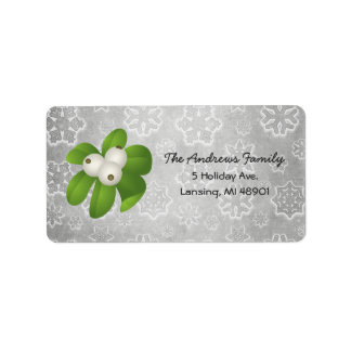 Holly Berries and Silver Snowflakes Address Label