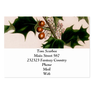 Holly berries business card template