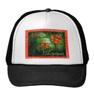 Holly Berries Christmas Greetings Mesh Hats