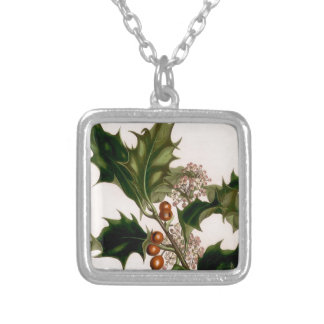 holly berries,christmas personalized necklace