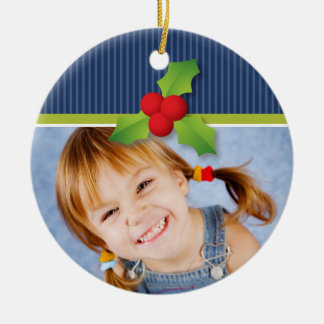 Holly Berries Christmas Ornament (navy/lime)