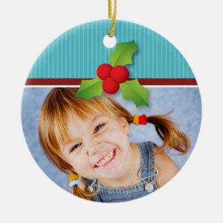 Holly Berries Christmas Ornament (red/aqua)