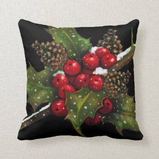 Holly Berries: Christmas Painting on Black: Art Throw Pillow