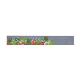Holly Berries Christmas Wreath Winter Holidays Wrap Around Label