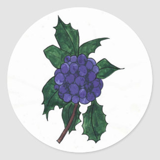 Holly  Berries Classic Round Sticker