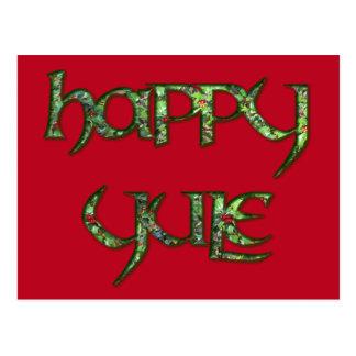Holly Berries Happy Yule Postcard