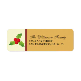 Holly Berries Holiday Address Labels (gold)