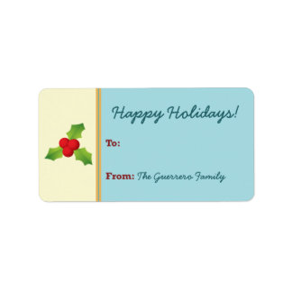 Holly Berries Holiday Gift Tag (aqua) Address Label