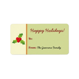 Holly Berries Holiday Gift Tag (lime) Custom Address Label