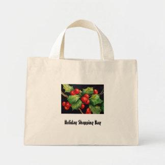 Holly Berries Holiday Shopping Bag