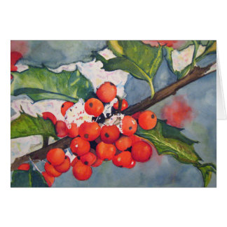 Holly Berries in the Snow Card