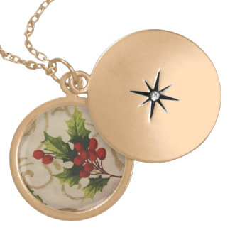 Holly Berries Locket Necklace