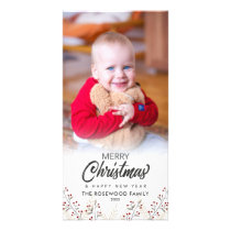 Holly Berries Merry Christmas New Year Photo Card