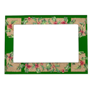 Holly Berries on Green Magnetic Frame