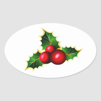 Holly Berries Oval Sticker