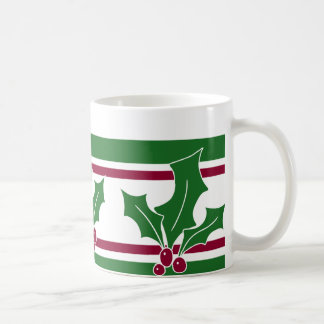 Holly Berries Pattern, Red and Green Trim Coffee Mug