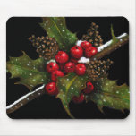 Holly Berries, Pine Cones: Christmas Oil Pastel Mouse Pad