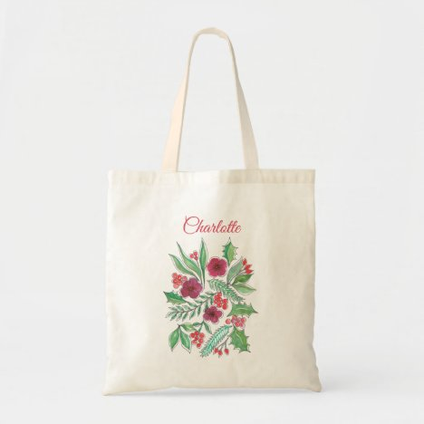Holly berries Red Green Watercolor Name Tote Bag