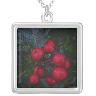 Holly Berries Silver Plated Necklace