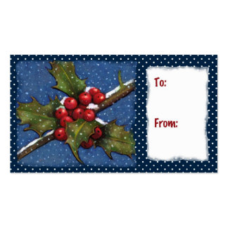 Holly, Berries, Snow: Christmas Gift Tag Business Card