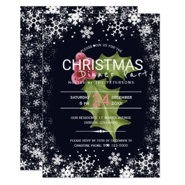 Beach Themed Holly berries snowflakes Christmas dinner party Card