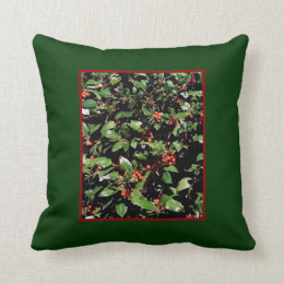 Holly & Berries Throw Pillow