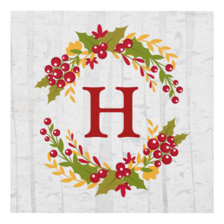 Holly Berries Wreath Monogram Chic Home Decor