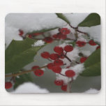 Holly Berry and Snow Mouse Pad