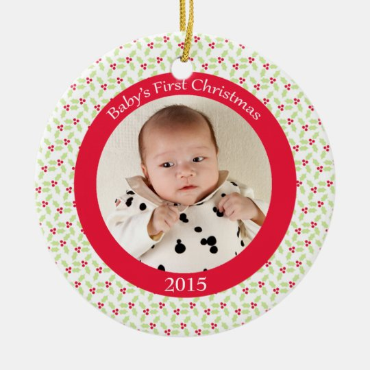 Holly berry baby's first Christmas photo ornament