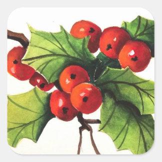 Holly Berry Branch Sticker