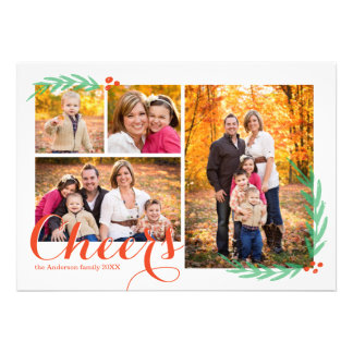 Holly Berry Cheers Holiday Photo Card