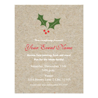 Holly Berry Christmas Holiday Event Flyer Poster