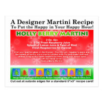 Holly Berry Christmas Martini Recipe Postcard