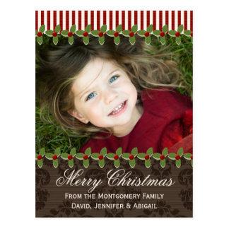 Holly Berry Christmas Photo Postcard