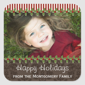 Holly Berry Christmas Photo Present Gift Labels Sticker