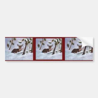 Holly Berry Deer Bumper Sticker