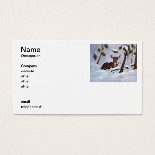 Holly Berry Deer Business Cards
