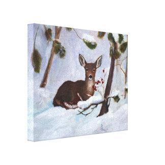 Holly Berry Deer Canvas Print