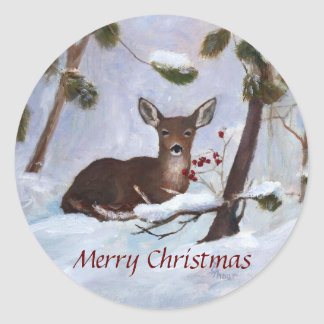 Holly Berry Deer Christmas Classic Round Sticker