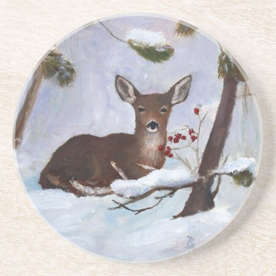 Holly Berry Deer Coaster